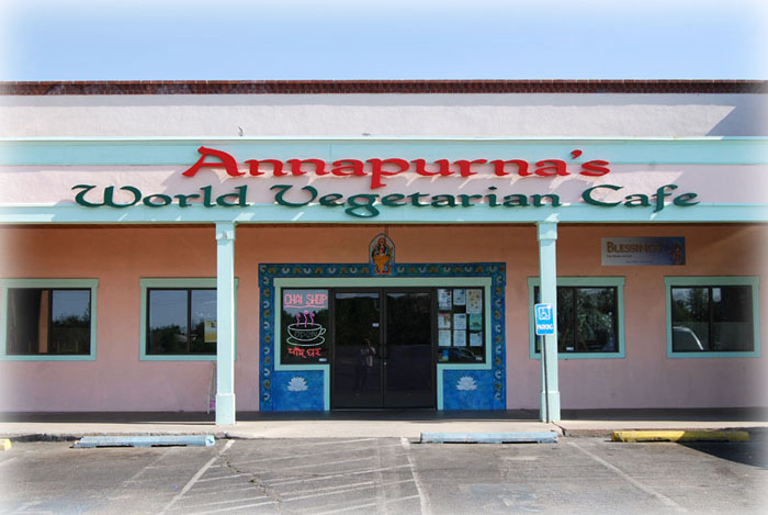 "Annapurna"" World Vegetarian Cafe Sign designed and faricated by Dennis Knicely, sign and design artist"
