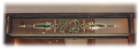 Simply Santa Fe Gold Leaf and Gem Inlay on glass  numbers over entrance